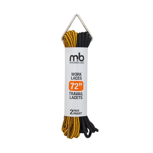 WORK BOOT ROUND LACES - 2 PK - ASSORTED COLOURS AND SIZES